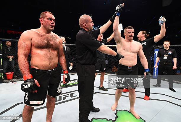 Mirko Cro Cop of Croatia celebrates after his TKO victory over Gabriel Gonzaga of Brazil in their heavyweight fight during the UFC Fight Night event...