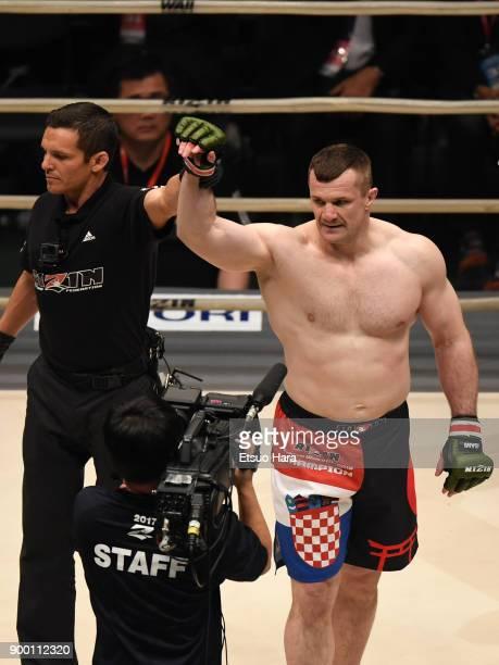 Mirko Cro Cop of Croatia celebrates his TKO victory against Tsuyoshi Kosaka of Japan in the bout during the RIZIN Fighting World GrandPrix 2017 final...