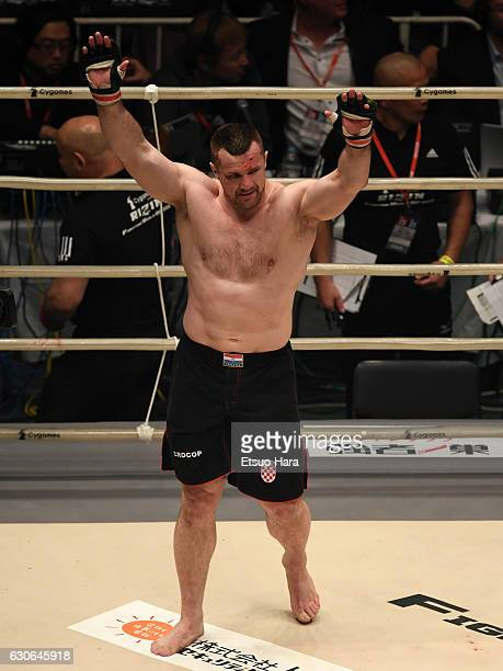 Mirko Cro Cop of Croatia celebrates his TKO victory in the bout against King Mo of the United States during the RIZIN Fighting World GP 2016 second...