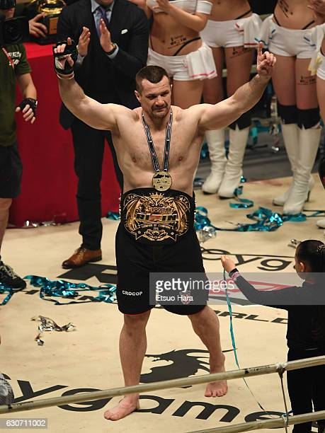 Mirko Cro Cop of Croatia celebrates his TKO victory in the Final bout against Amir Aliakbari of Iran during the RIZIN Fighting World GP 2016 final...
