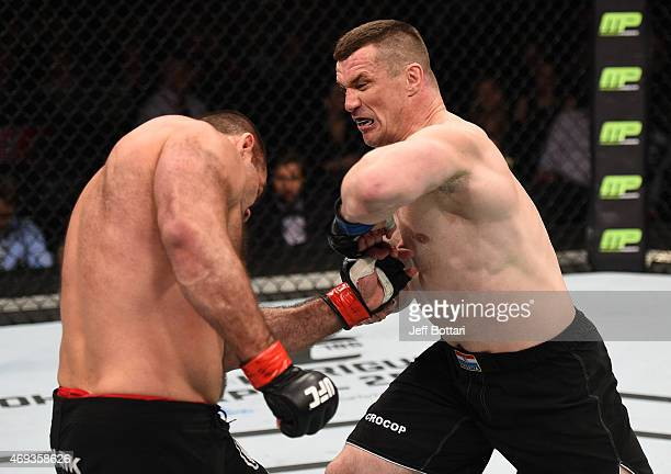 Mirko Cro Cop of Croatia elbows Gabriel Gonzaga of Brazil in their heavyweight fight during the UFC Fight Night event at the Tauron Arena on April 11...