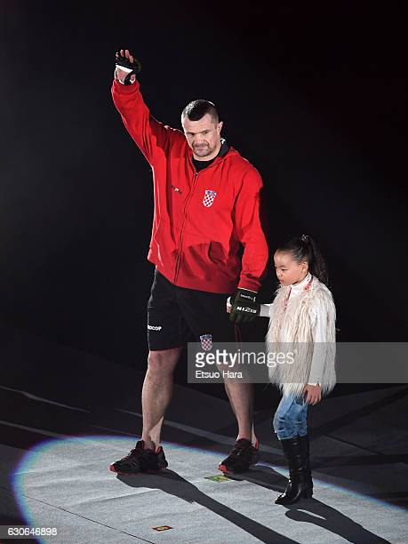 Mirko Cro Cop of Croatia enters the ring in the bout against King Mo of the United States during the RIZIN Fighting World GP 2016 second round at...