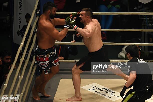 Mirko Cro Cop of Croatia punches Amir Aliakbari of Iran in the Final bout during the RIZIN Fighting World GP 2016 final round at Saitama Super Arena...