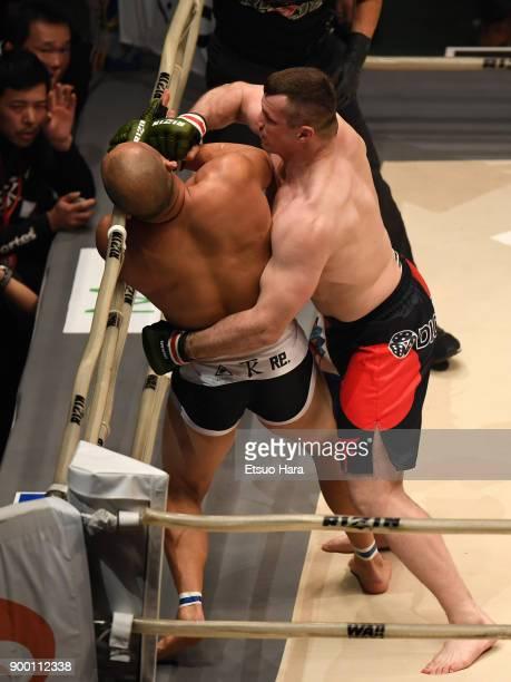 Mirko Cro Cop of Croatia punches Tsuyoshi Kosaka of Japan in the bout during the RIZIN Fighting World GrandPrix 2017 final Round at Saitama Super...