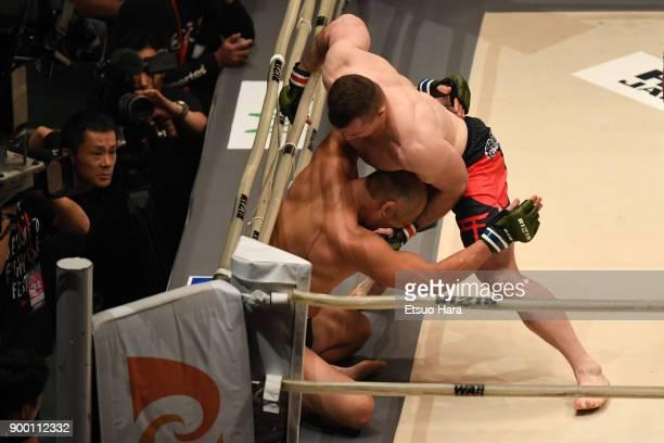 Mirko Cro Cop of Croatia TKOs Tsuyoshi Kosaka of Japan in the bout during the RIZIN Fighting World GrandPrix 2017 final Round at Saitama Super Arena...