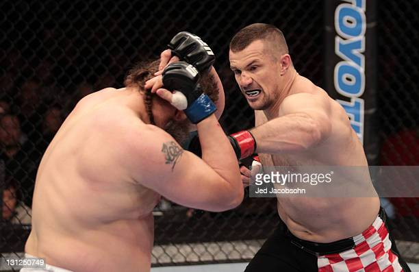 Mirko Cro Cop punches Roy Nelson during the UFC 137 event at the Mandalay Bay Events Center on October 29 2011 in Las Vegas Nevada