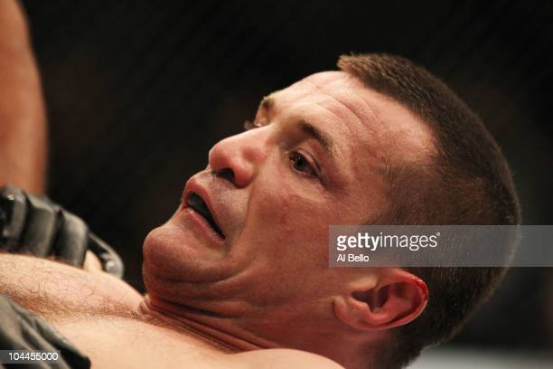 Mirko Cro Cop reacts after being knocked out by Frank Mir during their UFC heavyweight bout at Conseco Fieldhouse on September 25 2010 in...
