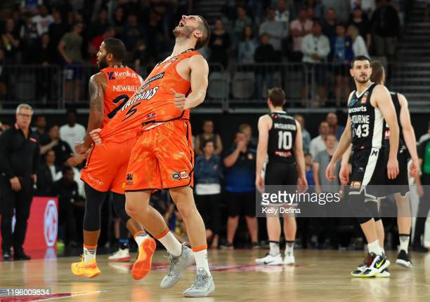 Mirko Djeric of the Taipans celebrates the Taipans win during the round 13 NBL match between Melbourne United and the Cairns Taipans at Melbourne...