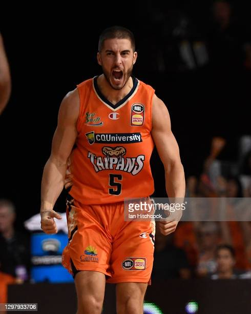 Mirko Djeric of the Taipans reacts during the round two NBL match between the Cairns Taipans and the Sydney Kings at Cairns Pop Up Arena on January...