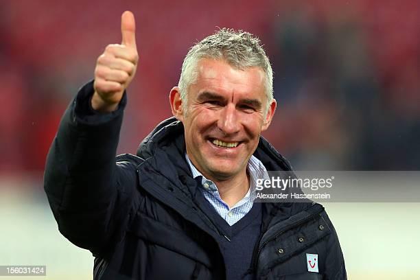 Mirko Slomka head coach of Hannover reacts after the Bundesliga match between VfB Stuttgart and Hannover 96 at MercedesBenz Arena on November 11 2012...