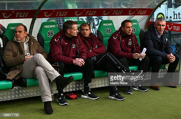 Mirko Slomka , head coach of Hannover reacts before the Bundesliga match between Hannover 96 and SC Freiburg at AWD Arena on November 17, 2012 in...