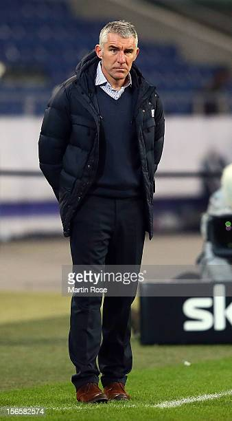 Mirko Slomka, head coach of Hannover reacts during the Bundesliga match between Hannover 96 and SC Freiburg at AWD Arena on November 17, 2012 in...