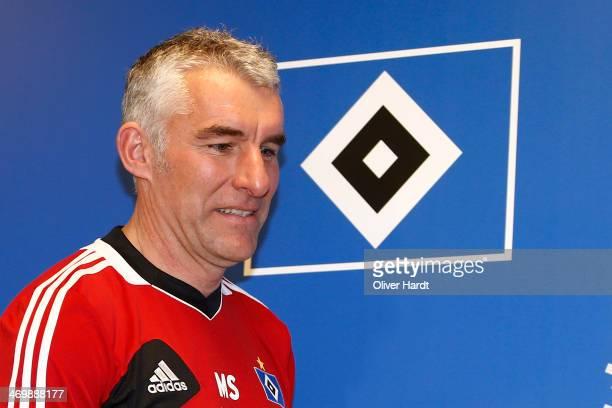 Mirko Slomka is presented as new head coach of Hamburger SV at a press conference on February 17 2014 in Hamburg Germany