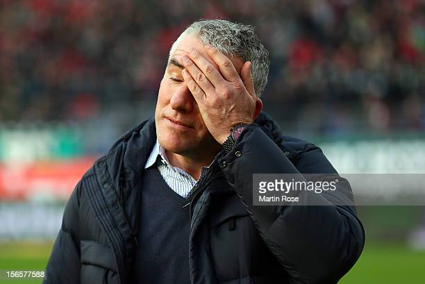 Mirko Slonka. Head coach of Hannover reacts before the Bundesliga match between Hannover 96 and SC Freiburg at AWD Arena on November 17, 2012 in...