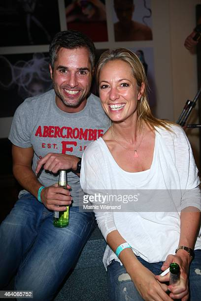 Mirko Stockbauer and Angela FingerErben attend the Tom Beck Record Release Party at 'die maske' on February 21 2015 in Cologne Germany