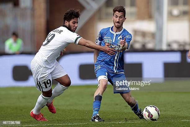 Mirko Valdifiori of Empoli FC battles for the ball with Saphir Taider of Sassuolo Calcio during the Serie A match between Empoli FC and US Sassuolo...