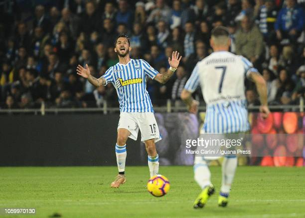 Mirko Valdifiori of SPAL reacts during the Serie A match between SPAL and Cagliari at Stadio Paolo Mazza on November 11 2018 in Ferrara Italy