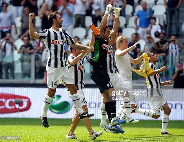 Mirko Vucinic Alessandro Del Piero and Gianluigi Buffon of Juventus FC celebrate their victory after the Serie A match between Juventus FC v Parma FC...