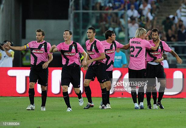 Mirko Vucinic of Juventus celebrates with team-mates after scoring the opening goal of the TIM pre-season tournament match between FC Internazionale...