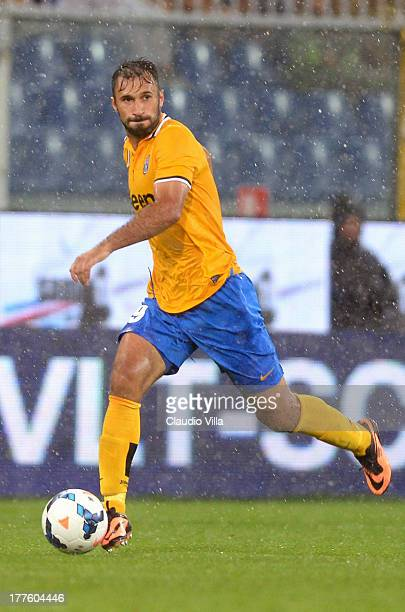 Mirko Vucinic of Juventus in action during the Serie A match between UC Sampdoria and Juventus at Stadio Luigi Ferraris on August 24 2013 in Genoa...