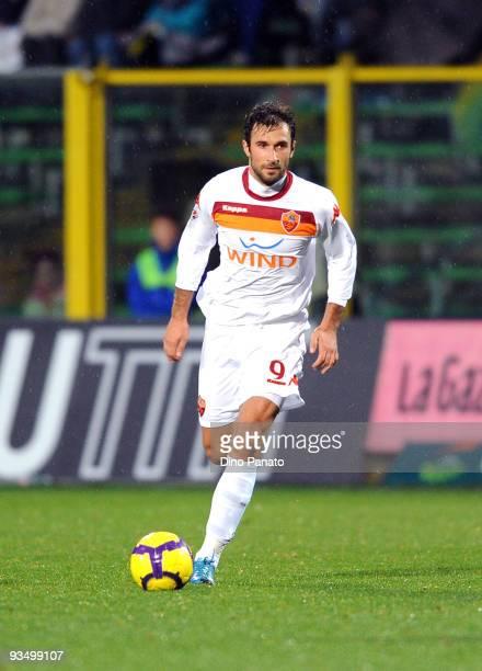 Mirko Vucinic of Roma in action during the Serie A match between Atalanta and Roma at Stadio Atleti Azzurri d'Italia on November 29, 2009 in Bergamo,...
