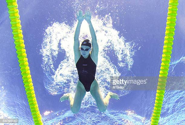 Mirna Jukic of Austria swims in the 200 meter Breaststroke heats at the XI FINA World Championships at the Parc JeanDrapeau on July 25 2005 in...