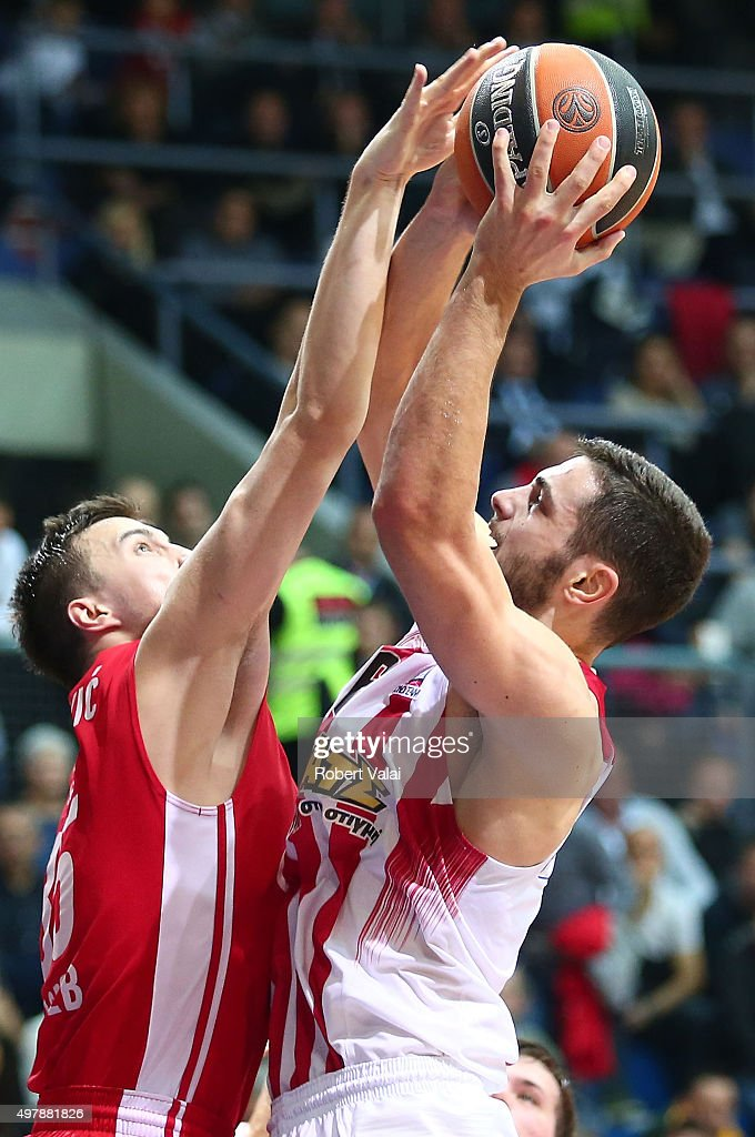 Miro Bilan, #15 of Cedevita Zagreb competes with Ioannis Papapetrou, #6 of Olympiacos Piraeus in action during the Turkish Airlines Euroleague Regular Season Round 6 game between Cedevita Zagreb v Olympiacos Piraeus at Drazen Petrovic Zagreb on November 19, 2015 in Zagreb, Croatia.