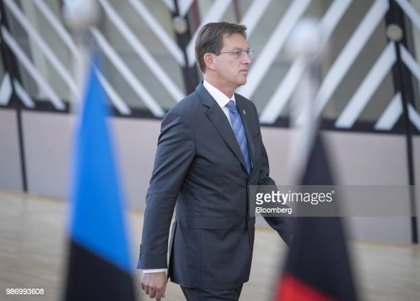 Miro Cerar Slovenia's prime minister arrives for a European Union leaders summit in Brussels Belgium on Friday June 29 2018 EU leaders negotiated...