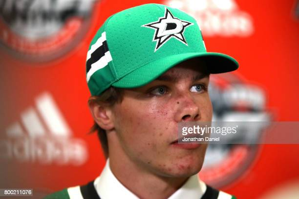 Miro Heiskanen is interviewed after being selected third overall by the Dallas Stars during the 2017 NHL Draft at the United Center on June 23 2017...
