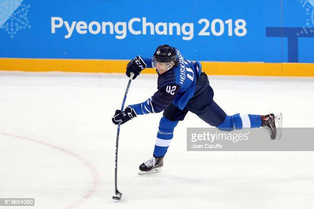 Miro Heiskanen of Finland during the Men's Ice Hockey Preliminary game between Finland and Norway at Gangneung Hockey Centre on February 16 2018 in...