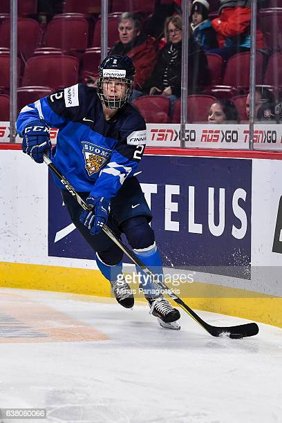 Miro Heiskanen of Team Finland skates the puck during the 2017 IIHF World Junior Championship relegation game against Team Latvia at the Bell Centre...