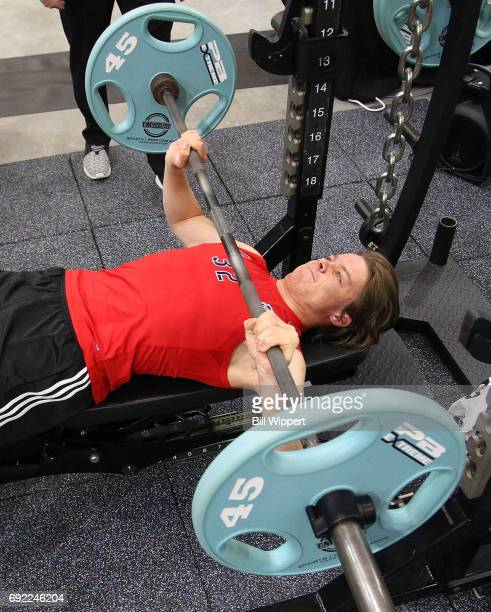 Miro Heiskanen performs the bench press during the NHL Combine at HarborCenter on June 3 2017 in Buffalo New York