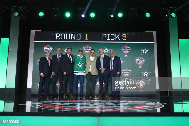 Miro Heiskanen poses for a photos after being selected third overall by the Dallas Stars during the 2017 NHL Draft at the United Center on June 23...