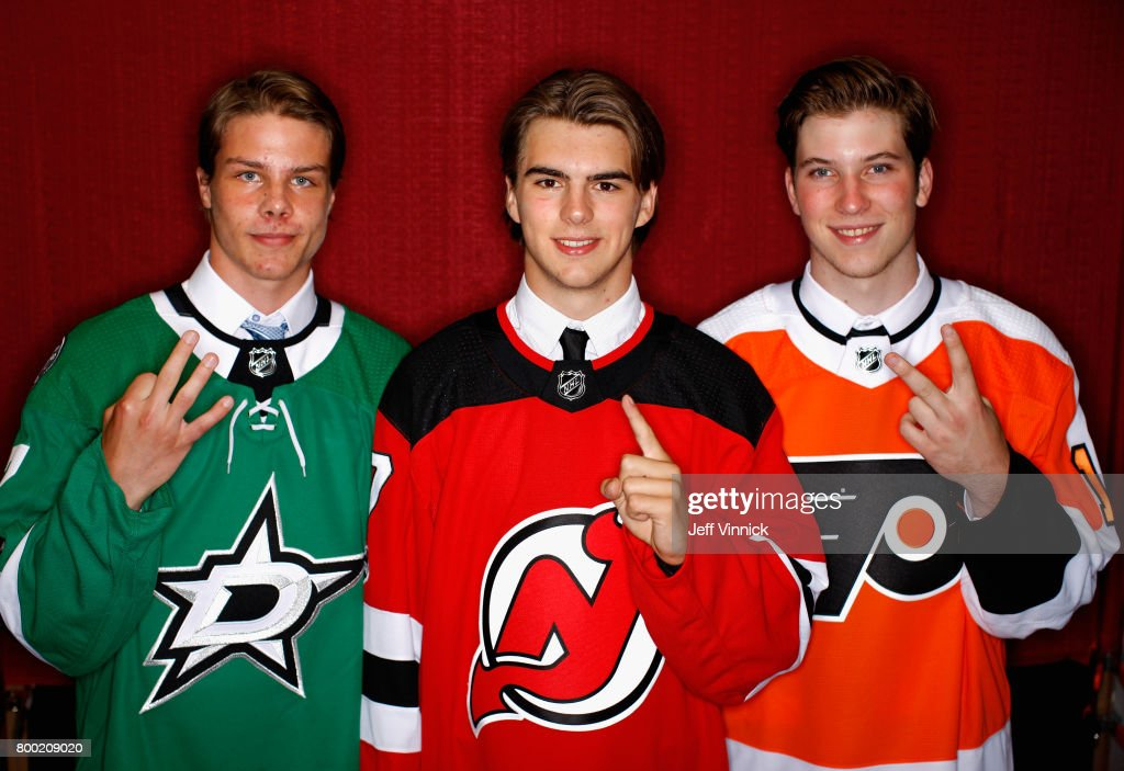 Miro Heiskanen, third overall pick of the Dallas Stars, Nico Hischier, first overall pick of the New Jersey Devils, and Nolan Patrick, second overall pick of the Philadelphia Flyers, pose for a portrait during Round One of the 2017 NHL Draft at United Center on June 23, 2017 in Chicago, Illinois.