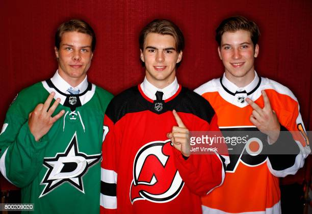 Miro Heiskanen third overall pick of the Dallas Stars Nico Hischier first overall pick of the New Jersey Devils and Nolan Patrick second overall pick...