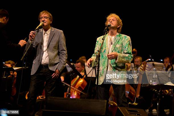 Miro Zbirka and Jon Anderson performing live onstage with the Slovak Symphonic Orchestra at Sadler's Wells Theatre, August 8, 2012.