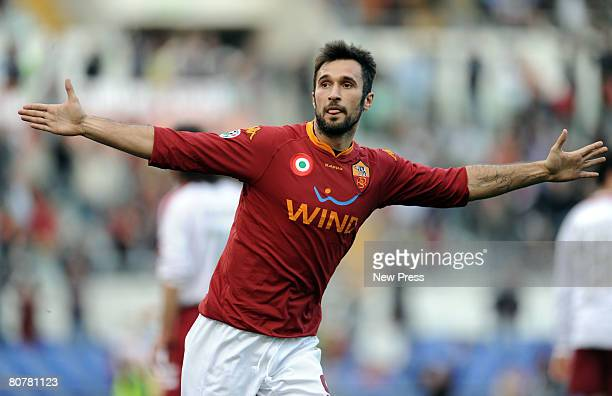 Mirok Vucinic of Roma celebrates a goal during the Serie A match between Roma and Livorno at the Stadio Olimpico on April 19, 2008 in Rome, Italy.