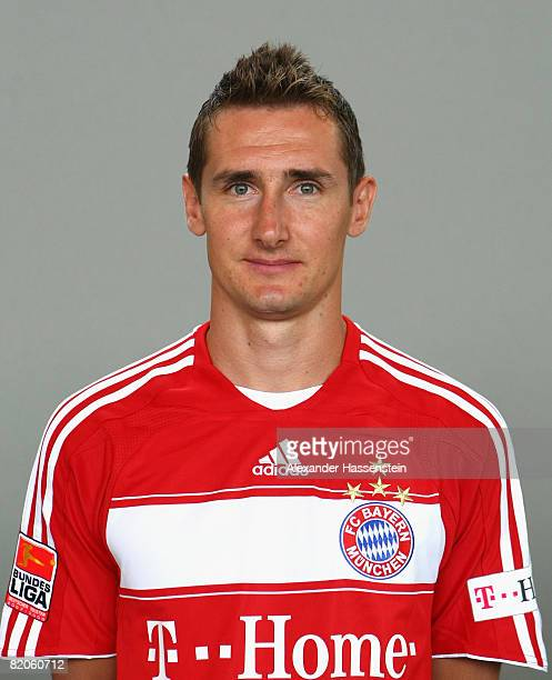 Mirolsav Klose of Bayern Muenchen poses during the Bayern Muenchen team presentation on July 25 2008 in Munich Germany