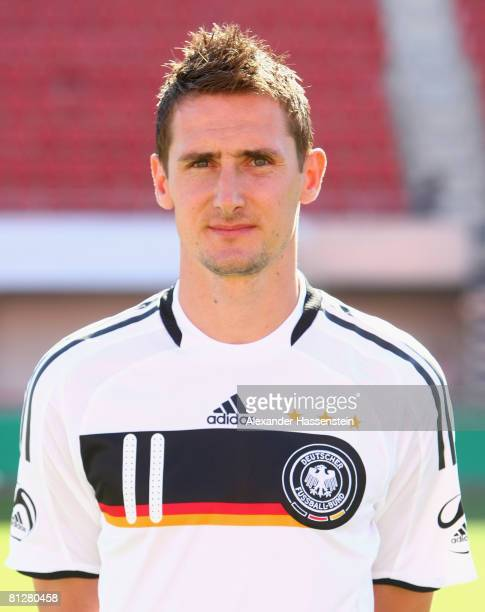Mirolsav Klose of Germany poses at the team photocall at the Son Moix stadium on May 29 2008 in Mallorca Spain