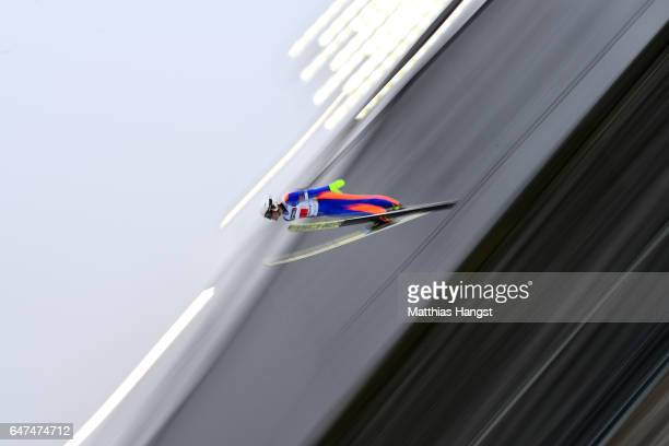 Miroslav Dvorak of Czech Republic competes in the Men's Nordic Combined HS130 Ski Jumping / 2 x 75km Team Sprint Cross Country during the FIS Nordic...