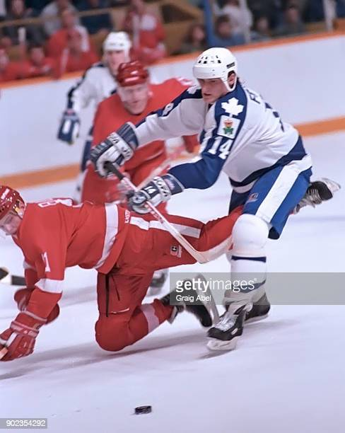 Miroslav Frycer of the Toronto Maple Leafs skates against Shawn Burr of the Detroit Red Wings during NHL game action on January 31 1987 at Maple Leaf...