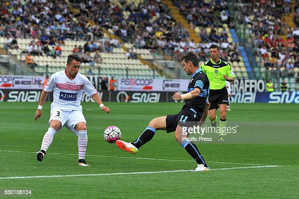 Miroslav Josef Klose Lazio's forward and Gaetano Letizia Carpi's defender fight for the ball during the Serie A football match between FC Carpi and...