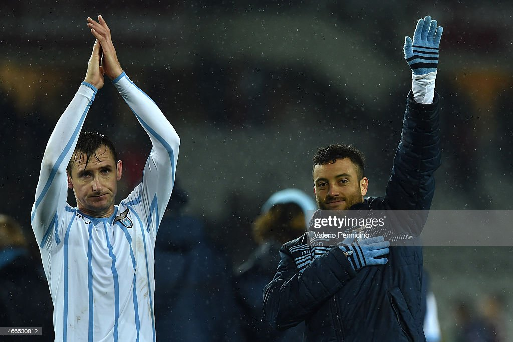 Miroslav Klose (L) and Felipe Anderson of SS Lazio celebrate victory at the end of the Serie A match between Torino FC and SS Lazio at Stadio Olimpico di Torino on March 16, 2015 in Turin, Italy.
