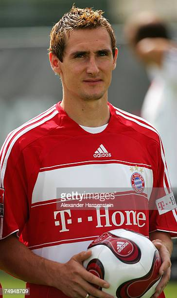 Miroslav Klose looks on during the seasons first training session at Bayern's training ground, Saebener Strasse, on June 28, 2007 in Munich, Germany.