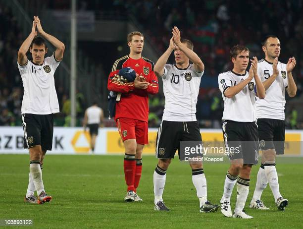 Miroslav Klose Manuel Neuer Lukas Podolski Philipp Lahm and Heiko Westerrmann celebrate the 61 victory after the EURO 2012 Group A Qualifier match...