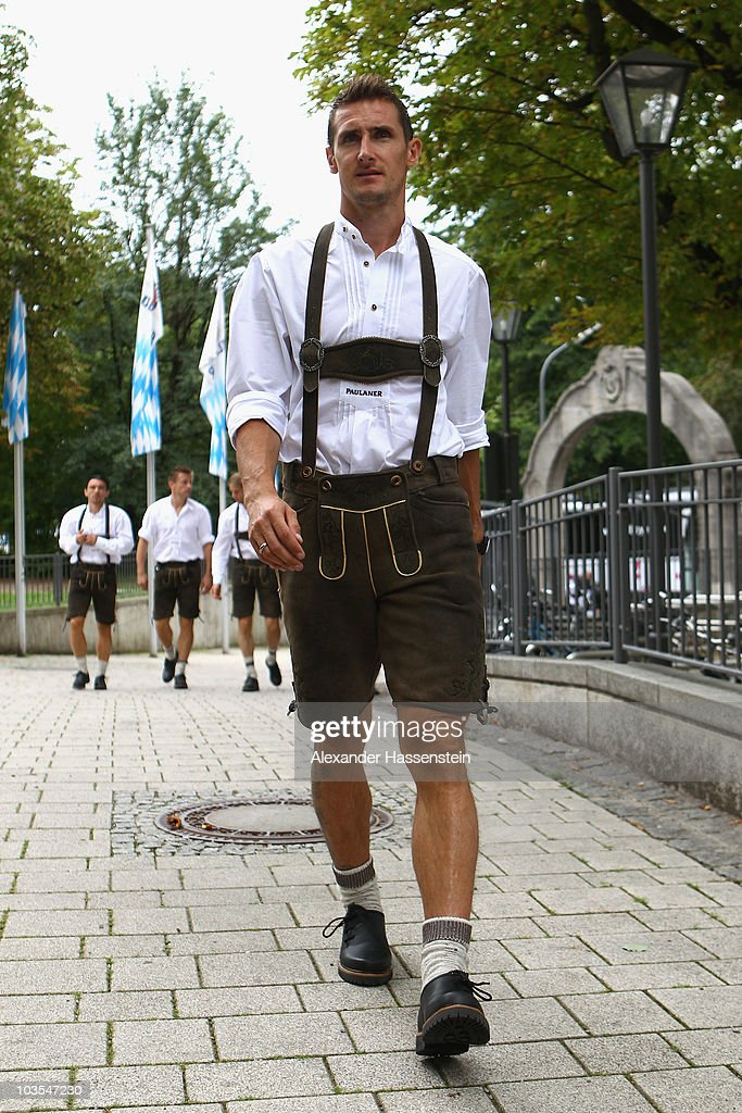Miroslav Klose of Bayern Muenchen arrives for the Paulaner photocall at the Nockerberg Biergarden on August 23, 2010 in Munich, Germany.