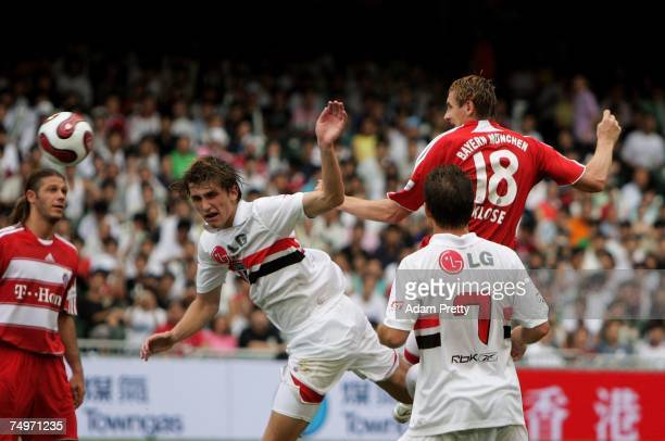 Miroslav Klose of Bayern Munich heads in a goal during the Bayern Munich vs Sao Paulo FC match of the HKSAR 10th Anniversary Reunification Cup at...
