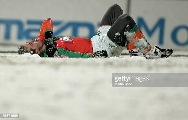 Miroslav Klose of Bremen is injured after a foul during the DFB German Cup quarter final match between FC StPauli and Werder Bremen at the Millerntor...