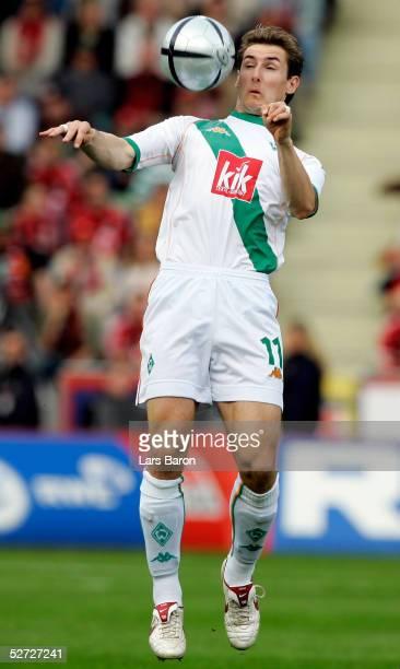 Miroslav Klose of Bremen stops the ball during the Bundesliga match between Bayer Leverkusen and Werder Bremen at the BayArena on April 24 2005 in...