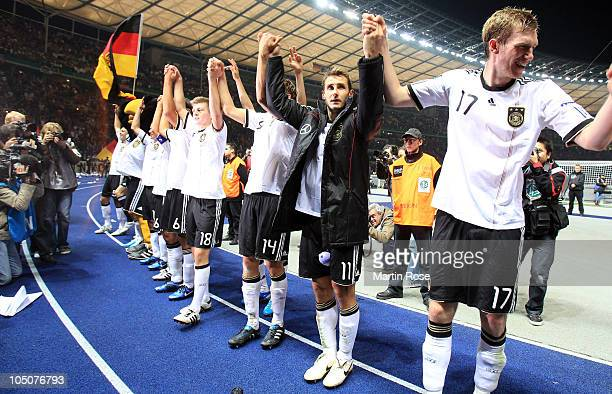 Miroslav Klose of Germany celebrate with his team mates after winning the EURO 2012 Group A qualifier match between Germany and Turkey at Olympia...